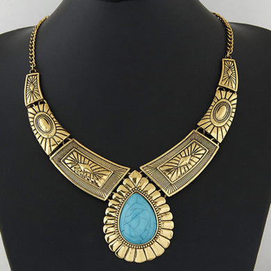 Gemstone Style Costume Necklace - Hourglass Apparel