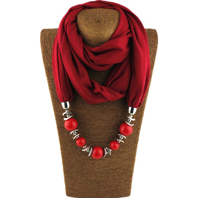 'Beads' Scarf Necklace - Hourglass Apparel