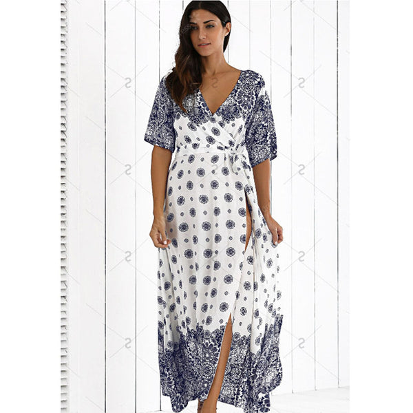 Boho Crossover Maxi Dress with Plus Sizes