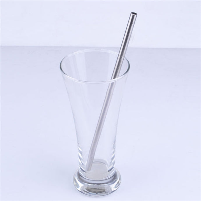 8*215mm Reusable Stainless Steel Straight Drinking Straw - Hourglass Apparel