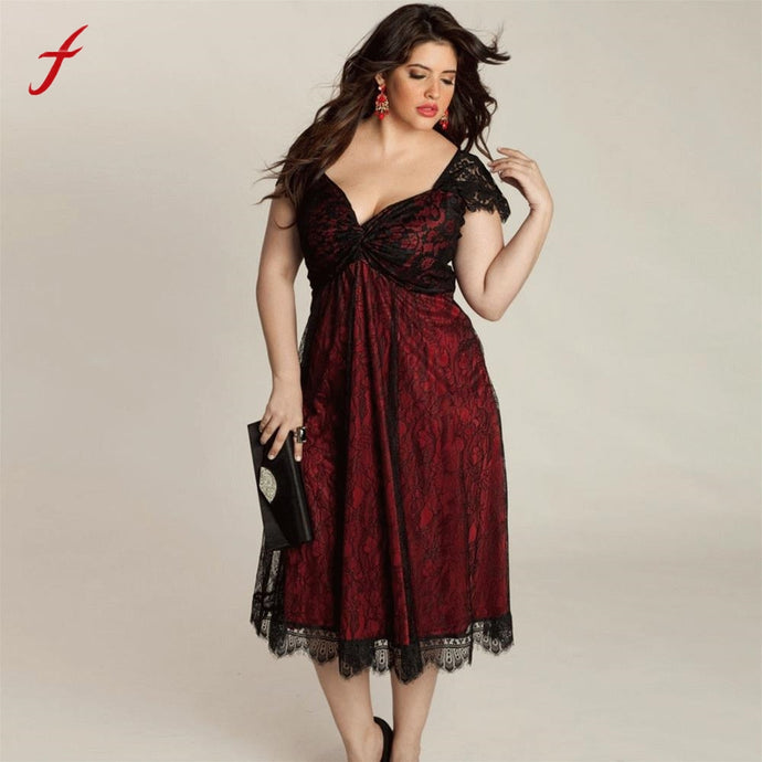 Lace Contrast Long Dress with Sweetheart Neckline - Hourglass Apparel