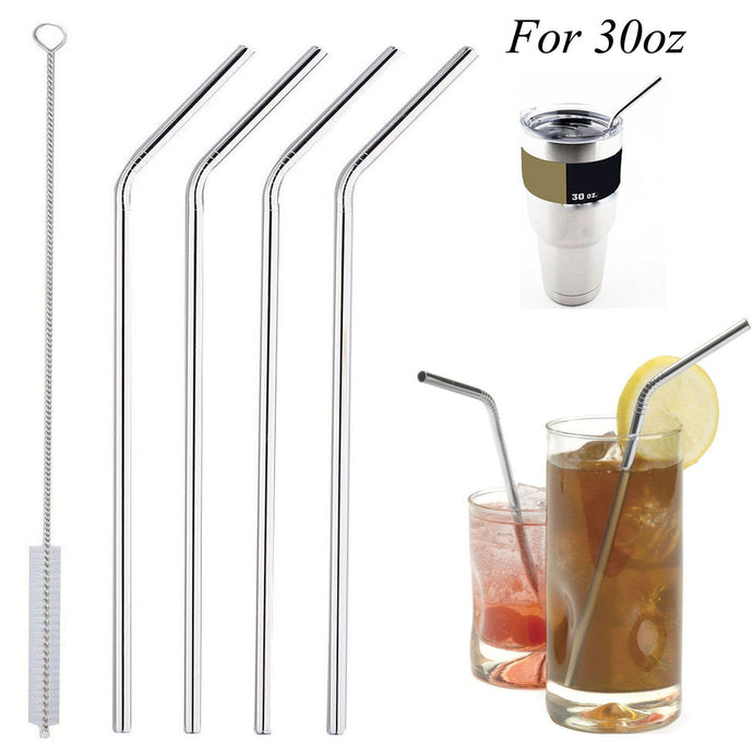 4 Pieces Stainless Steel Reusable Curved Drinking Straws with 1 Cleaner - Hourglass Apparel