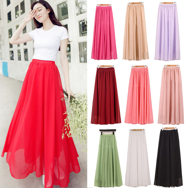 Chiffon Candy Color Pleated Maxi Skirt
