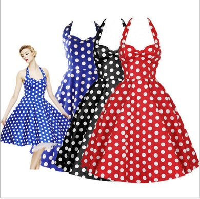 Big Swing Polka-Dot Backless Dress