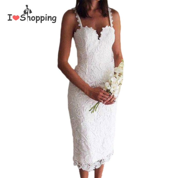 Lace Midi Shift Dress with Sweetheart Neckline and Spaghetti Straps - Hourglass Apparel