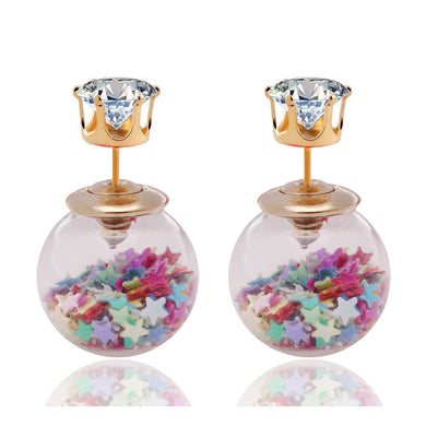 Star Sequin Transparent Stud Earrings - Hourglass Apparel