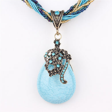 Beaded Turquoise Rhinestone Pendant Necklace