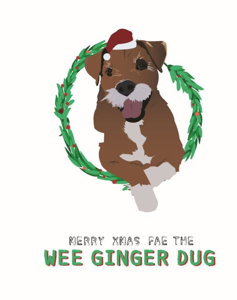 """Wee ginger dug"" Christmas Card"