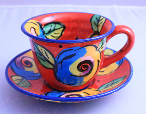 Cup and Saucer Red Roses - MaryRoseYoung