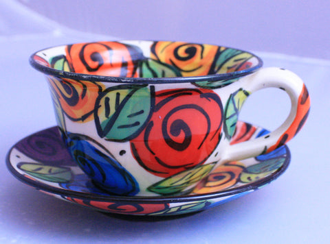 "Cup and Saucer ""Block Rose"" - MaryRoseYoung"