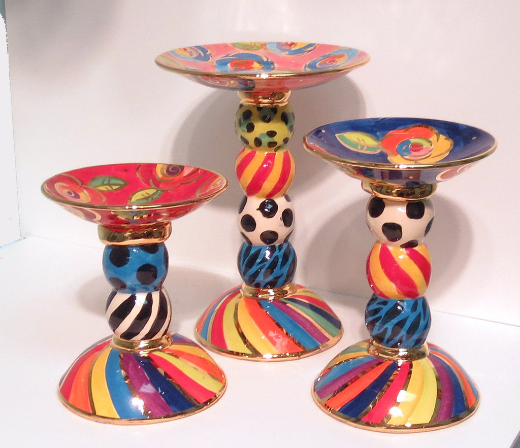 Set of Three Complimentary Candleholders - MaryRoseYoung
