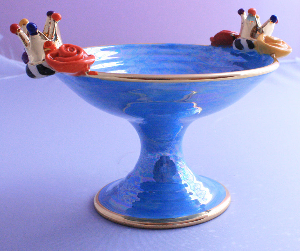 Crown Cocktail Dish Shimmering Baby Blue - MaryRoseYoung