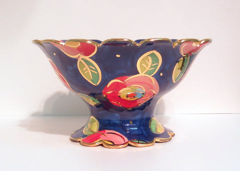 Fluted Bowl on Plinth Blue New Rose - MaryRoseYoung