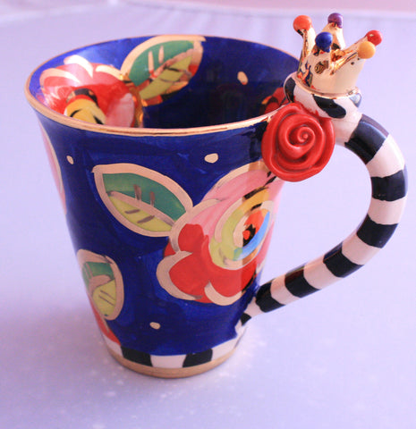 Crown Mug Blue Roses - MaryRoseYoung
