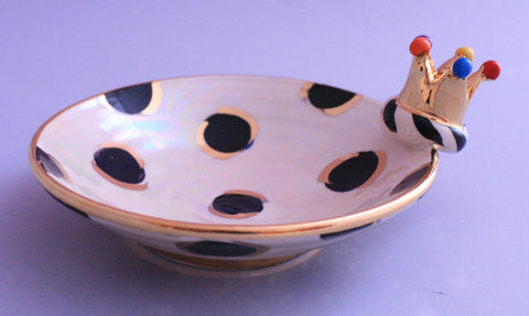 Crown Saucer Black Dots - MaryRoseYoung
