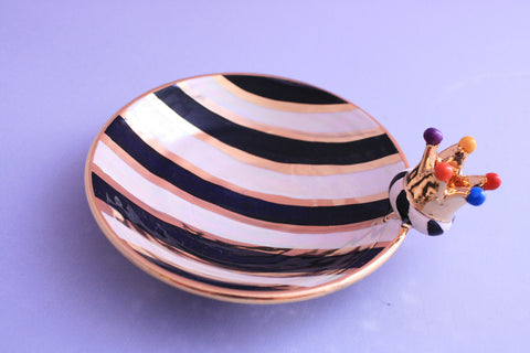 Crown Saucer Black and White Stripe - MaryRoseYoung