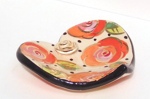 Rose Studded Heart Soap Dish Polka Rose - MaryRoseYoung