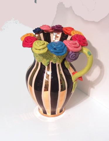 "Large Rose Encrusted Pitcher ""Black and White and Gold"" - MaryRoseYoung"
