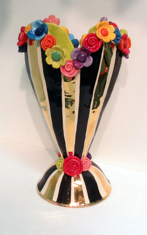 "Large Encrusted Heart Vase ""Black and White and Gold"" - MaryRoseYoung"