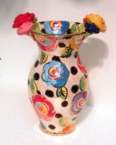 "Large Vase ""Roses on Black Dots"" - MaryRoseYoung"