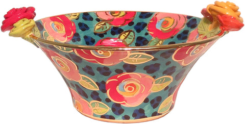 "Medium Rose Edged Serving Bowl ""Petrol Leopard"" - MaryRoseYoung"