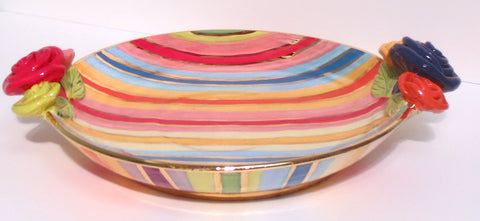 "Rose Edged Dinner Plate ""Lustred Stripe"" - MaryRoseYoung"