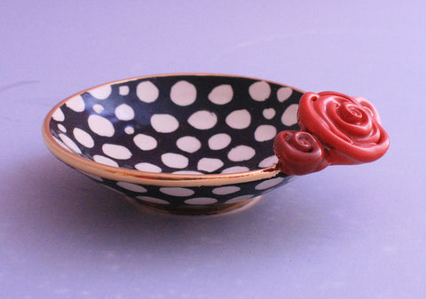 Rose Saucer White Dot - MaryRoseYoung