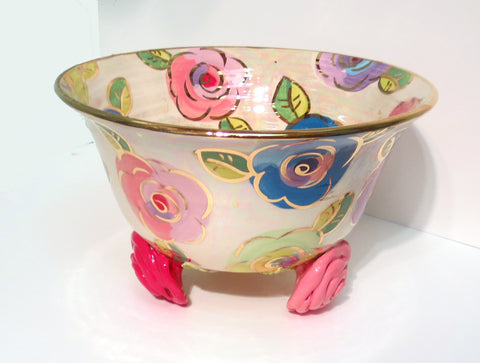 "Rose Footed Salad Bowl ""Mixed Pale Roses"" - MaryRoseYoung"