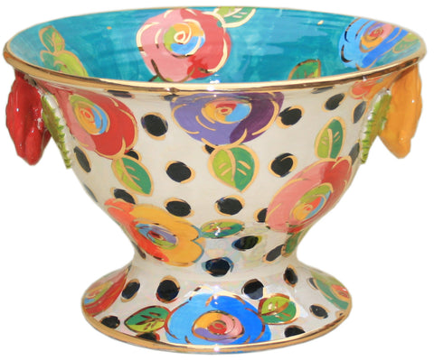 Salad Bowl on Plinth Roses and Black Dots - MaryRoseYoung