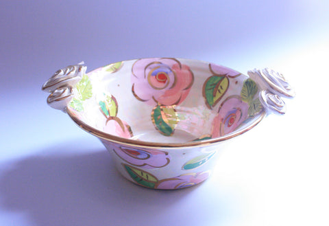 Small Rose Edged Serving Bowl Pale Roses Pink - MaryRoseYoung