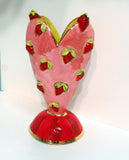 Strawberry Studded Medium Heart Vase - MaryRoseYoung