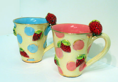 Strawberry Studded Mug - MaryRoseYoung