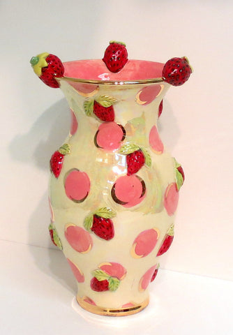 "Medium Strawberry Vase ""Pink Dots"" - MaryRoseYoung"