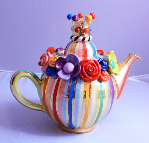 "Crown Lidded Medium Teapot ""Lustred Stripe"" - MaryRoseYoung"