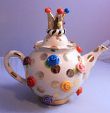 Medium Teapot Rose Studded Gold Dots