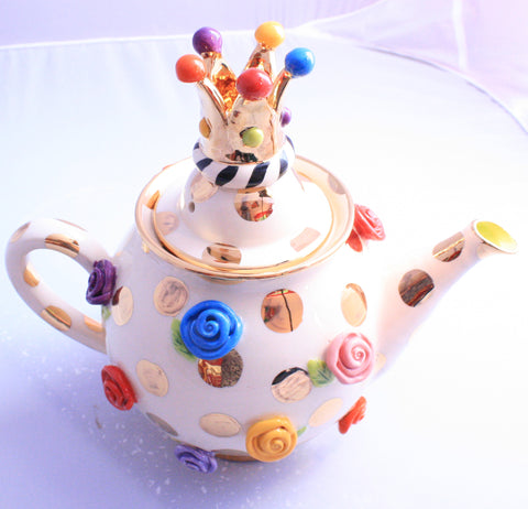 Medium Teapot Rose Studded Gold Dots - MaryRoseYoung