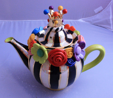 Multiflower Encrusted Medium Teapot Black and White - MaryRoseYoung