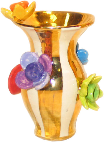 Tiny Multiflower Studded Vase Gold Stripes - MaryRoseYoung
