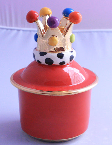 Crown Lidded Tiny Pot Bright Red - MaryRoseYoung
