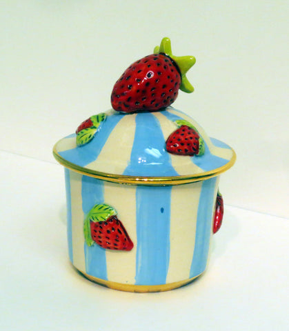 Little Pot with Strawberries Blue and Lemon - MaryRoseYoung