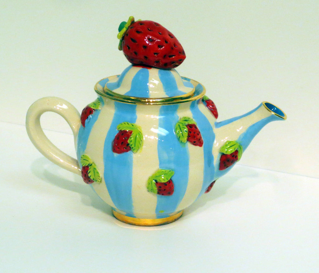 Tiny Strawberry Teapot Blue & Lemon - MaryRoseYoung