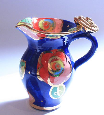 Creamer Jug Gold New Rose Powder Blue