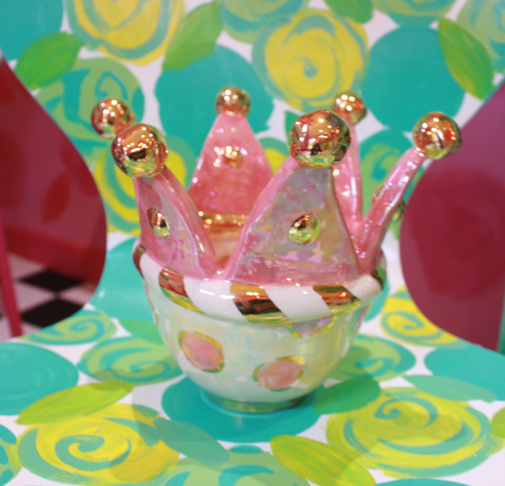 Crown Topped Bowl Pink and Mother of Pearl - MaryRoseYoung