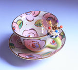Crown Handled Cup and Saucer Pale Roses Pink - MaryRoseYoung