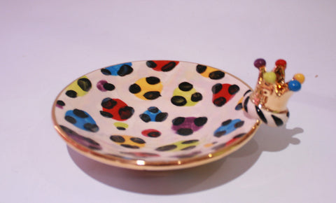 Crown Saucer Rainbow Leopard - MaryRoseYoung