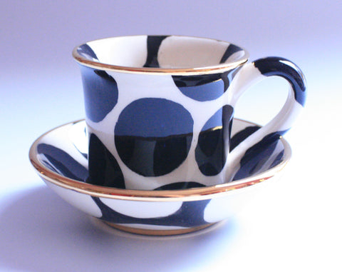 Esspresso Cup and Saucer Big Black Dot - MaryRoseYoung