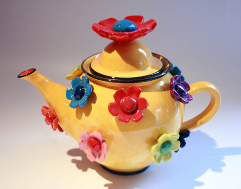Daisy Studded Teapot Yellow - MaryRoseYoung