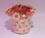 Multiflower Encrusted Candlejar Pink and Gold Leopard - MaryRoseYoung