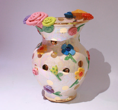 Large Fat Vase Pressed Flowers - MaryRoseYoung