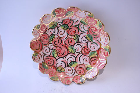 Fluted Serving Dish Pink Rosebush - MaryRoseYoung